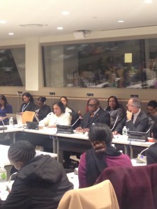 Nalini Saligram (left), with Ambassador Webson and Dr. Gonzalez-Canali at the UN on March 16